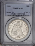 Seated Dollars: , 1846 $1 MS61 PCGS. Lustrous, with some prooflike tendencies on bothsides, and showing some streaky grease stains on the o...