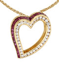 Estate Jewelry:Pendants and Lockets, Diamond, Ruby, Gold Pendant-Necklace . ...