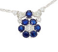 Estate Jewelry:Necklaces, Diamond, Sapphire, White Gold Necklace. ...