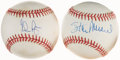 Autographs:Baseballs, Baseball Legends Single Signed Baseball Pair (2) - Includes Ryan& Musial. ...