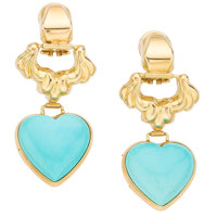 Turquoise, Gold Earrings
