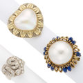 Estate Jewelry:Rings, Diamond, Lapis Lazuli, Mabe Pearl, Gold Rings . ... (Total: 3 Items)