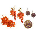 Estate Jewelry:Suites, Victorian Garnet, Coral, Gold, Yellow Metal Jewelry Suites . ...(Total: 4 Items)