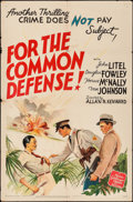 "Movie Posters:Crime, Crime Does Not Pay: For the Common Defense (MGM, 1942). One Sheet(27"" X 41""). Crime.. ..."