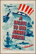 "Movie Posters:War, A Salute to Our Armed Forces (Warner Brothers, c. 1940). One Sheet(27"" X 41""). War.. ..."