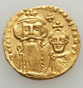 Ancients:Byzantine, Ancients: Constans II (AD 641-668) & Constantine IV (AD 654-685). AV solidus (4.42 gm). XF....