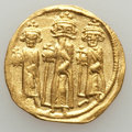 Ancients:Byzantine, Ancients: Heraclius, Heraclius Constantine, & Heraclonas (AD610-641). AV solidus (4.35 gm). VF....