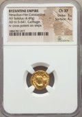 Ancients:Byzantine, Ancients: Heraclius (AD 610-641) & Heraclius Constantine (AD613-641). AV solidus (4.49 gm). NGC Choice XF 3/5 - 4/5....