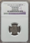 1652 3PENCE Oak Tree Threepence, No IN on Obverse, Noe-27, W-300, Salmon 5-Aii, R.5 -- Damaged -- NGC Details. VF....(PC...