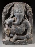 Asian:Other, An Indian Blackstone Stele Carving of Ganesha, possibly 12thcentury. 17 h x 12-1/2 w x 4 d inches (43.2 x 31.8 x 10.2 cm). ...