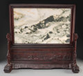 Asian:Chinese, A Large Chinese Dreamstone and Rosewood Table Screen. 25-1/2 h x28-1/2 w x 9-5/8 d inches (64.8 x 72.4 x 24.4 cm). ...