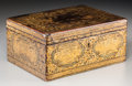 Decorative Arts, British:Other , An English Regency Gilt and Black Lacquered Chinoiserie Tea Caddy,circa 1830. 4 h x 8-3/4 w x 6-1/2 d inches (10.2 x 22.2 x...