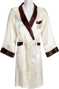 Circa 1974 Muhammad Ali Signed Robe Worn in Training for Joe Frazier II Bout