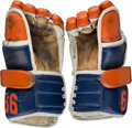 Hockey Collectibles:Equipment, 1985-86 Wayne Gretzky Game Worn Edmonton Oilers Gloves--Photo Matched!...