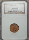 Indian Cents, 1873 1C Open 3 MS64 Red and Brown NGC....