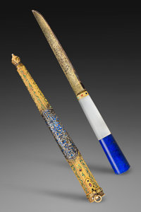 A Fine and Very Rare Chinese Imperial Hunting Knife with Enameled Gold and Silver Sheath, Qing Dynasty, Qianlong Peri