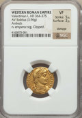 Ancients:Roman Imperial, Ancients: Valentinian I (AD 364-375). AV solidus (3.96 gm). NGC VF5/5 - 2/5, damage, clipped. ...