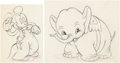 Animation Art:Production Drawing, Mickey's Elephant Mickey Mouse and Bobo Animation Drawing (Walt Disney, 1936). ... (Total: 2 )