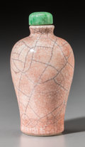 Asian:Chinese, A Chinese Rose Crackle-Glazed Porcelain Baluster Snuff Bottle, QingDynasty, 19th century. 3-1/2 inches high (8.9 cm). ...