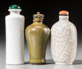 Asian:Chinese, Three Chinese Glazed Porcelain Snuff Bottle, Qing Dynasty, 19thcentury. 3-5/8 inches high (9.2 cm) (tallest). ... (Total: 3 Items)