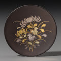 Asian:Japanese, A Rare Sino-Japanese Silvered and Gilt Shakudo Snuff Dish, EdoPeriod, 19th century. 1-3/4 inches diameter (4.4 cm). PROVE...