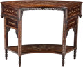 Asian:Chinese, A Chinese Bone-Inlaid Huanghuali and Mixed Wood Crescent-FormTable. 28-1/4 h x 17 w x 37-1/2 d inches (71.8 x 43.2 x 95.3 c...