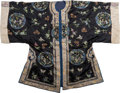 Asian:Chinese, A Chinese Finely Embroidered Dark Blue Silk Lady's Robe, late Qingdynasty. 45 inches high (flat, middle of collar to lower ...