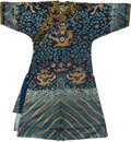Other, A Chinese Embroidered Blue Silk Dragon Robe, late Qing dynasty. 54 inches high (flat, middle of collar to lower ...