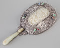 Asian:Chinese, A Chinese Silver, Jade, and Hardstone-Mounted Hand Mirror, QingDynasty, 19th century. 9 inches long (22.9 cm). ...