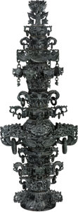 Asian:Chinese, A Very Large Chinese Carved Hardstone Pagoda Censer. 45 inches high(114.3 cm). ...