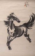 Asian:Chinese, Attributed to Xu Beihong (Chinese, 1863-1957). RunningHorse. Ink and watercolor on paper. 37-1/4 x 23-1/2 inches(94.6 ... (Total: 5 Items)