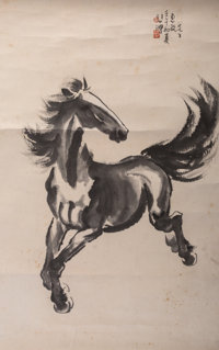 Attributed to Xu Beihong (Chinese, 1863-1957) Running Horse Ink and watercolor on paper 37-1/4 x