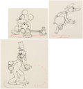 Animation Art:Production Drawing, Mickey's Service Station Mickey Mouse, Goofy, and Donald Duck Animation Drawings Group of 3 (Walt Disney, 1935). ... (Total: 3 )