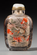 Asian:Chinese, A Chinese Inside-Painted Rutilated Quartz Snuff Bottle with GoldFish and Carp Motif, Studio of Ye Zhongsan, early 20th cent...