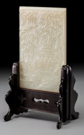 Asian:Chinese, A Chinese Carved White Jade Landscape Table Screen, Qing Dynasty,19th century. 6-1/8 inches high x 3-7/8 inches wide (15.6 ...
