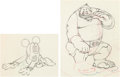 Animation Art:Production Drawing, Brave Little Tailor Mickey Mouse and Giant AnimationDrawings Group of 2 (Walt Disney, 1938). ... (Total: 2 )