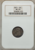 Bust Dimes, 1821 10C Large Date, JR-5, R.3, MS63 NGC....