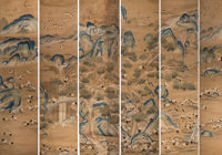 A Very Fine and Rare Partial Set of Six Imperial Chinese Embroidered Silk Hundred Crane Scro