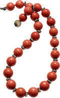 Estate Jewelry:Necklaces, Coral, Colored Diamond, Sapphire, Gold Necklace. ...