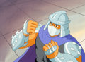 Animation Art:Production Cel, Teenage Mutant Ninja Turtles Shredder Production Cel andMaster Background (Murakami-Wolf-Swenson, c. 1987)....