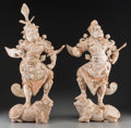 Asian:Chinese, A Pair of Chinese Painted Pottery Lokapala Figures, Tang Dynasty, circa 618-907. 27 inches high (68.6 cm). ... (Total: 2 Items)