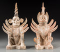 Asian:Chinese, A Pair of Chinese Painted Pottery Earth Spirit Figures, Tang Dynasty, circa 618-907. 13-3/4 inches high (34.9 cm) (taller). ... (Total: 2 Items)