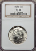 Kennedy Half Dollars, 1969-D 50C MS66 NGC. NGC Census: (179/4). PCGS Population:(270/18). Mintage 129,881,800. ...