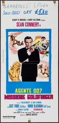 "Movie Posters:James Bond, Goldfinger (United Artists, R-1970s). Folded, Very Fine-. ItalianLocandina (13"" X 27""). James Bond.. ..."