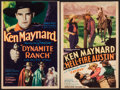 """Movie Posters:Western, Dynamite Ranch & Other Lot (World Wide, 1932). Trimmed Mini Window Cards (2) (8"""" X 12""""). Western.. ... (Total: 2 Items)"""
