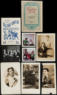 "Marx Brothers Lot (Early 1900s-1961). Photos (7) (3.5"" X 3.5"" - 5"" X 8"") & Theatre Programs..."
