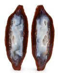 """Minerals:Cabinet Specimens, """"Sweet Potato"""" Agate. Chihuahua, Mexico. 5.51 x 1.85 x 0.88inches (14.00 x 4.70 x 2.23 cm). ... (Total: 2 Items)"""