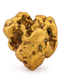 Gold Nugget Alaska, USA 1.22 x 1.10 x 0.57 inches (3.10 x 2.80 x 1.46 cm)