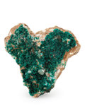 Minerals:Cabinet Specimens, Dioptase on Calcite. Republic of Congo (Brazzaville). 4.30 x3.67 x 1.30 inches (10.91 x 9.33 x 3.29 cm). ...