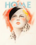 Mainstream Illustration, Charles Gates Sheldon (American, 1889-1960). Home Magazinecover. Pastel on board. 14 x 12 in.. Signed lower right. ...